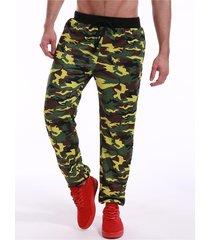 pantalones de chándal de cintura con cordón de camuflaje para hombres
