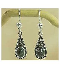 dark green jade dangle earrings, 'santa catalina' (guatemala)