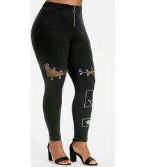 gothic style half zip o ring grommet printed plus size leggings