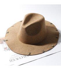 cappello unisex regolabile regolabile in feltro con bottoni a pressione cappello lungo a tesa larga con cappuccio retro vogue jazz cap