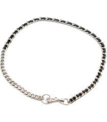 women's rebecca minkoff leather chain belt, size large/x-large - black/ polished nickel