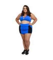 shorts saia fitness corpusfit life com bolso plus size - azul e preto