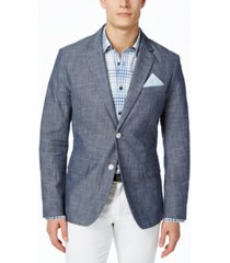 tasso elba men's classic-fit chambray blazer, created for macy's