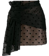 nº21 polka-dot mesh mini skirt - black