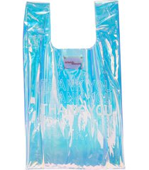 'thank you' print holographic pvc tote