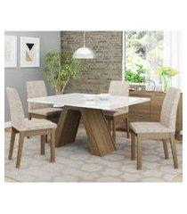 conjunto sala de jantar madesa ayla mesa tampo de vidro com 4 cadeiras rustic/branco/fendi