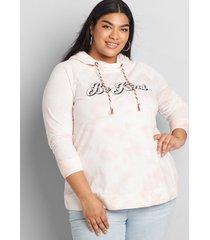 lane bryant women's be kind hooded graphic sweatshirt 10/12 neutral