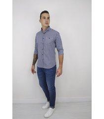 camisa essential manga larga cuadros azul oscura para hombre - cce101-azul oscuro