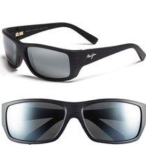 men's maui jim 'wassup - polarizedplus2' 61mm polarized sunglasses - matte black wood grain/ grey