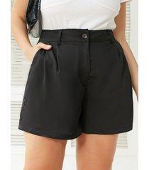 yoins plus talla black botón diseño shorts con bolsillo lateral
