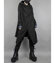 cárdigan de abrigo negro liso de longitud media irregular de estilo japonés para hombres