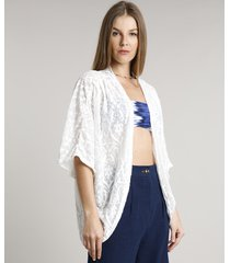 kimono feminino devorê com arabescos off white
