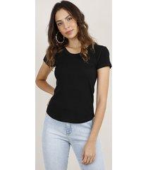 blusa feminina básica canelada manga curta decote redondo preta
