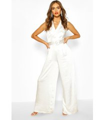 boohoo occasion satin double breasted jumpsuit, white