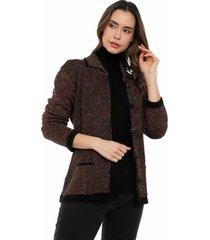 chaqueta multicolor bolsillos giive - ema517-negro