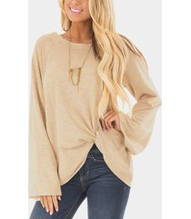 beige crossed front design plain round neck flared sleeves t-shirt
