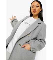 nepwollen jas met ballonmouwen, ash grey