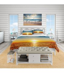 designart 'brilliant texture of sea currents' beach duvet cover set - queen bedding
