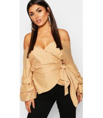 ruffle tiered sleeve wrap top, camel
