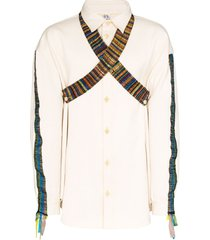bethany williams tent woven cotton shirt - neutrals