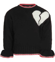 msgm black sweater for girl with heart