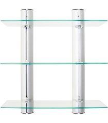 danya b. wall-mount 3-tier adjustable glass wall shelves on aluminum bars