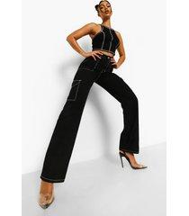 boyfriend jeans met contrasterende stiksels en zakken, black