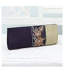 embroidered clutch handbag, 'flowery in navy and buff' (india)