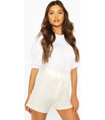 big sleeve cotton mix and jersey blouse, white