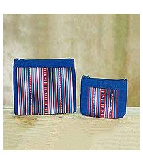 cotton blend cosmetic bags, 'lisu cheer' (pair) (thailand)