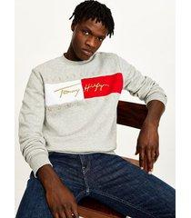 tommy hilfiger men's organic cotton signature sweatshirt medium grey heather - xxl