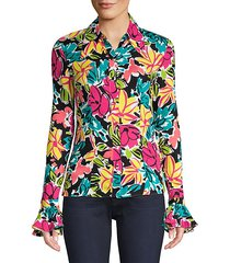 crushed bell sleeve floral shirt