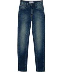 calça dudalina jeans reta vintage feminina (jeans medio, 48)