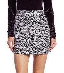 bertha leopard-print tweed mini skirt