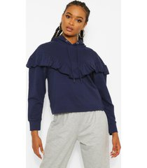 frill oversized hoodie, navy