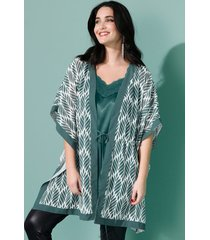 blouse miamoda groen::wit