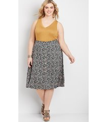 maurices plus size womens ditsy floral button front skirt