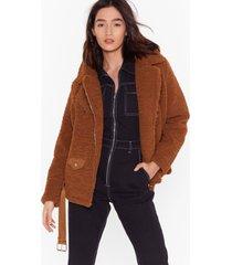 womens feelin' fly faux shearling belted aviator jacket - camel