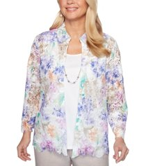 alfred dunner petite nantucket floral lace layered-look necklace top