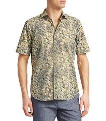 collection leaf-print cotton shirt