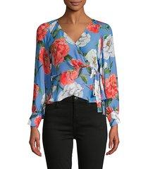 floral-print silk-blend wrap blouse