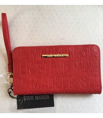 steve madden red logo  gold zip around organizer wallet wristlet new