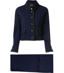 chanel pre-owned braided trim two-piece skirt suit - blue
