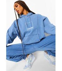 acid wash gebleekte pantone hoodie met voor- en achteropdruk, gewassen blauw
