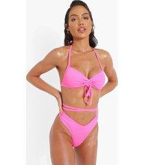 geribbeld bikini broekje met v-taille en strikjes, pink