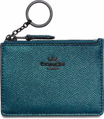coach 87077 mineral metallic crossgrain leather mini skinny wallet nwt