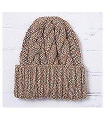 alpaca blend knit cap, 'salted caramel' (peru)