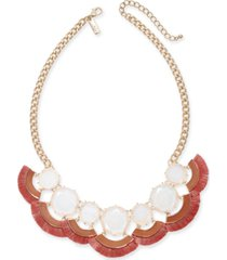 """inc gold-tone stone & tassel fringe statement necklace, 18"""" + 3"""" extender, created for macy's"""