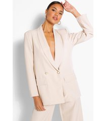 tailored relaxed pearl button blazer, stone