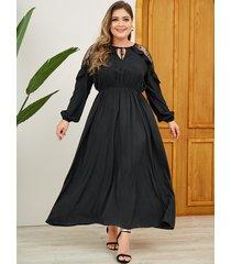 vestido largo de manga larga con cuello en v y patchwork de encaje negro de yoins
